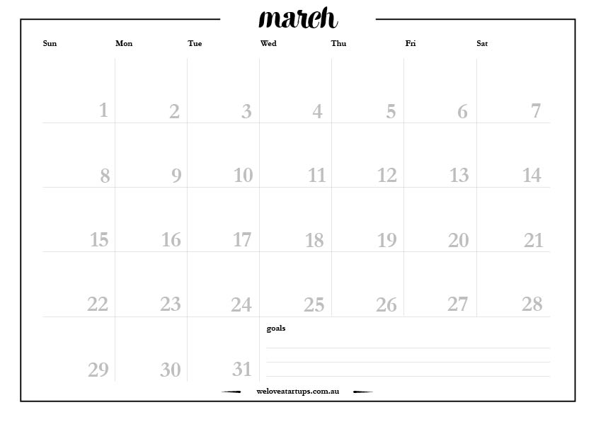 March 2015 A4 monthly planner